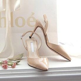 サンダル レディース バックストラップ エナメル 黒 ブラック ベージュ ミュール ハイヒール 婦人靴 痛くない 歩きやすい