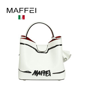 MAFFEI2019SS春夏イタリア製マフェイバッグハンドバッグショルダーバッグMサイズフラワーチャーム2WAYレザーロゴホワイトかっちりパーティーお出掛け結婚式二次会送料無料
