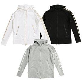 RESOUND CLOTHING リサウンドクロージング ジップパーカー LINE ZIP UP Hoodie RC11-C-001 PARKER ライン トラック 白 黒 灰 ホワイト ブラック グレー フード MEN