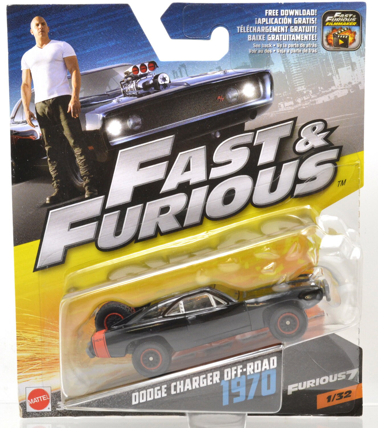 """MATTEL 1:55 SCALE """"THE FAST AND THE FURIOUS"""" """"1970 DODGE CHARGER OFF-ROAD"""" マテル社製 1:55スケール """"1970 ダッジ チャージャー オフロード"""" FCG01-986A"""