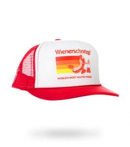 "WIENERSCHNITZEL ""Dog on the Run Trucker"" HAT(RED) ウインナーシュニッツェル キャップ帽子(レッド) アメリカ ホットドッグ"