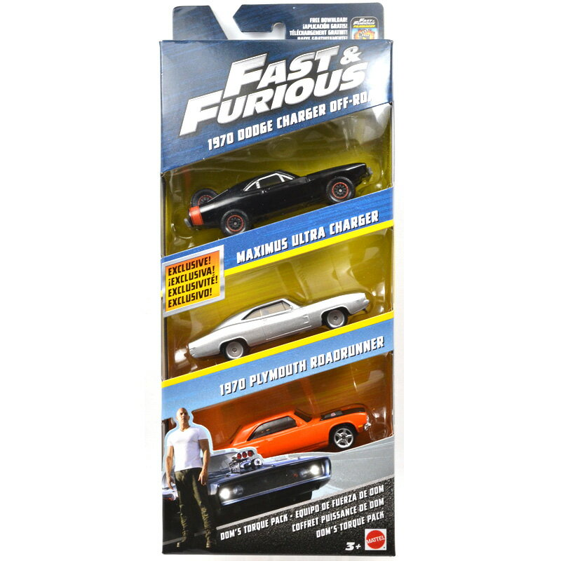 "MATTEL 1:55 SCALE ""THE FAST AND THE FURIOUS"" ""FAST & FURIOUS DIE-CAST 3-PACK SET"" マテル社製 1:55スケール""ワイルドスピード ダイキャスト 3パックセット""(1970 DODGE CHARGER OFF ROAD 、MAXIMUS ULTRA CHARGER 、1970PLYMOUTH ROAD RUNNER)並行輸入品 FCG01-956A"