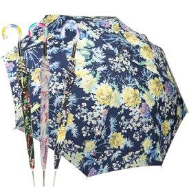 イタリアらしい華やかなフラワープリント♪ 長傘 雨傘 イタリアブランド rainbow 花柄 フラワープリント ワンタッチオープン ジャンプ傘 レディース ギフト カラフルハンドル おしゃれ かわいい 華やか 8本骨