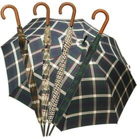 肩が濡れにくい大きめサイズの長傘! 長傘 雨傘 イタリアブランド rainbow チェック柄 ウッドハンドル ワンタッチオープン ジャンプ傘 大きい レディース メンズ 丈夫 8本骨 おしゃれ ギフト