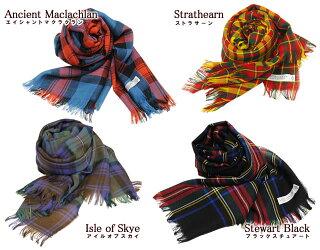 Lochcarronofscotlandロキャロンオブスコットランド大判ストール薄手タータンチェックウールレディースおしゃれかわいい薄いショールチェック柄ピュアウールギフトタータン秋軽い