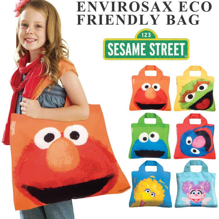 【メール便可】ENVIROSAX エンビロサックス SesameStreet セサミストリート エコバッグ トートバッグ ショッピングバッグ マザーズバッグ 折りたたみ かわいい おしゃれ ブランド 人気 OMNISAX オムニサックス トート あす楽