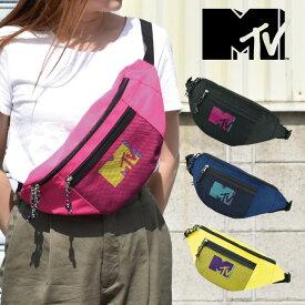 MTV カラフルロゴ メッシュポケット ボディバッグ レディース メンズ ユニセックス デイリー 男女兼用 ユニセックス ミュージック PV 洋楽 フェス 音楽 MUSIC Television MTV-017