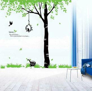 ウォールステッカー木北欧大きいサイズおしゃれ貼ってはがせるwallstickerステッカーシール全15種蝶グリーン森森林英字鳥鳥かご鳥籠ウッドリーフジャンボサイズウォールシール壁シールリメイクシートベランダ
