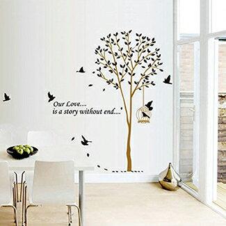 ウォールステッカー木おしゃれ北欧葉貼ってはがせるwallstickerステッカーシール全12種窓木々森森林英字鳥鳥かご鳥籠ウッドリーフグリーンウォールシール壁シールリメイクシートベランダ