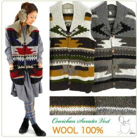 ウール100%の手編みがぬくぬくキュート♪カウチン風ネイティブ柄ニットベスト[wool 100%][ハンドメイド][オルテガ柄ベスト][チマヨ柄ベスト][エスニック柄][ハンドニット]などをお探しの方に♪◆FASHION\ワンピース・トップス◆★★f91-6