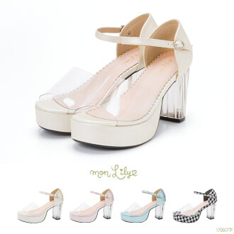 The white pink blue-black black and white S M L Lady's dream prospects comfortable to walk in that are not painful of transparent upper gingham large heel strap Gurley daughter of an upper class family in sandals Princess clear heel summer