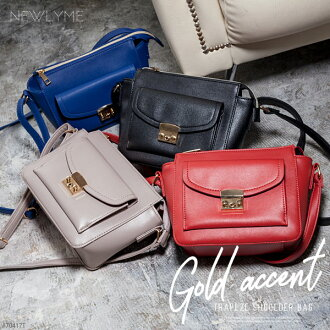 I plan bag shoulder string synthetic leather storing gold きれいめ trend black gray navy red black red F Lady's dream fine-view 0707 ◆ 7/20 shipment at gold accent trapeze flap shoulder bag bias
