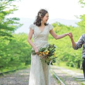 ウエディングドレス 大きいサイズ 二次会 スレンダー ソフトマーメイド レース フィッシュテール 前撮り 後撮り 披露宴 結婚式 セミオーダー レース 生地