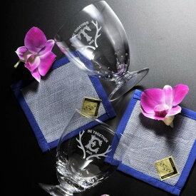 【名入れ専門】【名入れ プレゼント】デザートグラスペアセット 手染めコースター付き