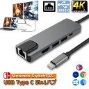 USB TypeC ハブ 5 in 1 Nintendo Switch対応 4K@30Hz 有線LAN アダプター USBC HDMI LANポート イーサネット PD充電…