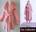 【10月1日前後発送】肉厚フォックス&シェアードラパン毛皮 ピンク リアルファーコート レディース 毛皮コート レディ…