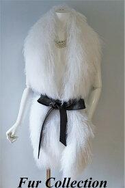 チベットラムファーポケット付毛皮ファーストール・ショール・ファーマフラー和装・洋装兼用ロングマフラー●フォックス・バレンシアガ・チンチラ・ミンク・カルガンラム・毛皮お好きな方に