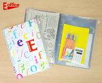 【E-officeイー・オフィス】6ポケットA4クリアファイルジップファスナー付き事務用品オフィス文房具デザイン輸入文具バッグ総柄アルファベット書類A4学校仕事書類整理収納オリジナルおしゃれイーオフィス
