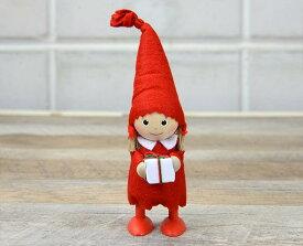 年に1回のみ日本に輸入されます。【NORDIKA DESIGN ノルディカニッセ】プレゼントを持った女の子クリスマス インテリア 小物 人形 プレゼント ギフト 雑貨 X'mas おしゃれ ステーショナリー デザイン おしゃれ 海外 輸入