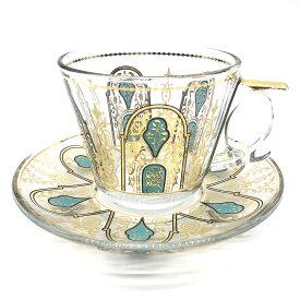 トルコチャイ カップ&ソーサー セット 耐熱ガラス A-25 おしゃれ トルココーヒー グラス クリア ガラス 紅茶 コーヒー 来客用 人気 カップソーサーセット プレゼント ギフト 贈り物 おすすめ トルコ雑貨 インテリア 飾り棚用 食器 送料無料