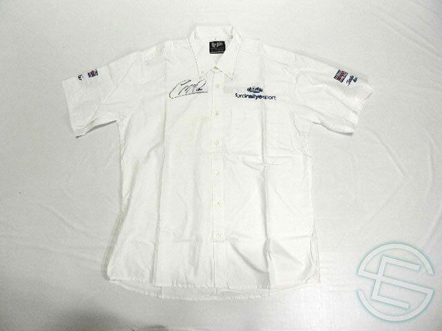 【送料無料】 コリン・マクレー 直筆サイン入り 2002年 WRC マルティニ・フォード 支給品 半袖 シャツ メンズ L (海外直輸入 F1 非売品USEDグッズ)