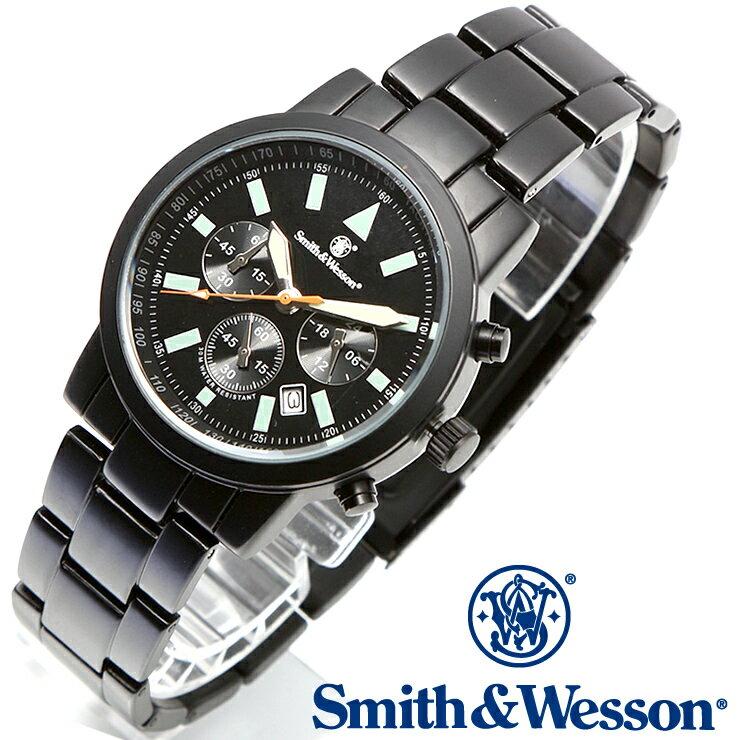[正規品] スミス&ウェッソン Smith & Wesson クロノグラフ ミリタリー腕時計 PILOT WATCH CHRONOGRAPH BLACK SWW-169 [あす楽] [ ラッピング無料 送料無料 ]