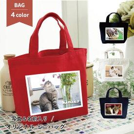 猫 名入れ 写真入り ミニカラーバッグ お散歩バッグ ミニトートバッグ かわいい ミニバッグ ランチバッグ 小さめ かばん ギフト プレゼント ペット
