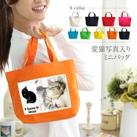 ● 猫 名入れ 写真入り ミニカラーバッグ お散歩バッグ ミニトートバッグ かわいい ミニバッグ ランチバッグ 小さめ かばん ギフト プレゼント ペット