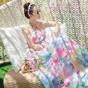 【サイズ有S/M/L】リゾートワンピ マキシワンピ 大人 シフォンワンピース ベアトップ 虹色 ベアトップ リゾート ワンピース ボヘミア ロング ワンピース ビーチ ハワイ リゾート リゾート旅行