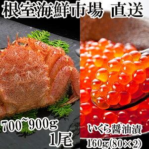 【ふるさと納税】 ボイル毛ガニ700〜900g×1尾、いくら醤油漬け80g×2P B-14027