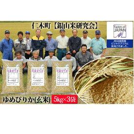 【ふるさと納税】【ANA機内食に採用】銀山米研究会の玄米<ゆめぴりか>15kg 【米・お米・ゆめぴりか】
