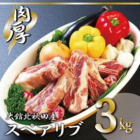 【ふるさと納税】60P2160 数量限定!大館北秋田産豚骨付きスペアリブ3kg