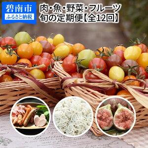 【ふるさと納税】肉・魚・野菜・フルーツすべて詰まった旬の定期便(全12回お届け) H028-011