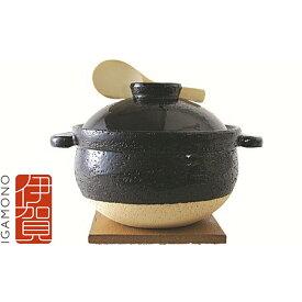 【ふるさと納税】伊賀焼 炊飯土鍋「かまどさん」(五合炊き) 【工芸品・雑貨・日用品・調理器具・鍋】
