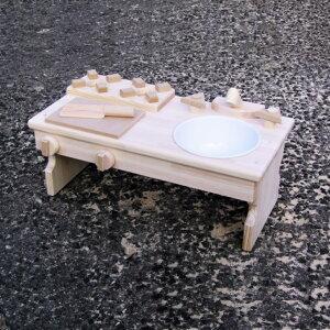 【ふるさと納税】手作り木製 ままごとキッチン・RHK-LX 素材色バージョン