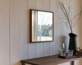 【ふるさと納税】ウォールナット木枠正方形 デザインインテリアミラー