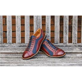 【ふるさと納税】倭イズム 牛革×デニム紳士靴 YA3310 ワイン 【ファッション・靴・シューズ】