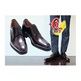 【ふるさと納税】ビジネスシューズ 本革 革靴 紳士靴 外羽根プレーン 6cmアップ シークレットシューズ No.1931 ワイン 【雑貨・日用品】