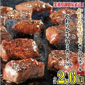 【ふるさと納税】やわらか牛ハラミ サイコロステーキ2.4kgとやわらか牛ハラミカット200g 計2.6kg ※北海道・沖縄・一部離島お届け不可 【お肉・牛肉・ステーキ・バラ(カルビ)・セット】 お届け:※お申込み状況により、お届けまで1か月〜2か月かかる場合がございます。