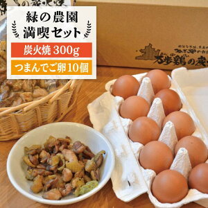 【ふるさと納税】《鶏の炭火焼とブランド卵のセット》緑の農園 満喫セット/炭火焼き/肉/鶏肉/親鶏/親鳥/焼き鳥/酒の肴/おつまみ/たまご/玉子/つまんでご卵/平飼い卵/卵かけご飯 [AGA020]
