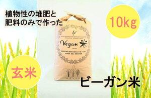 【ふるさと納税】10月15日より発送開始ビーガン米10kg 玄米【植物性で育てた完全無農薬のサガンベジブランド】(CQ006)