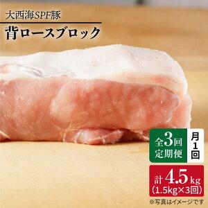 【ふるさと納税】【月1回約1.5kg×3回定期便】大西海SPF豚背ロースブロック計4.5kg<大西海ファーム>[CEK074]