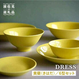 【ふるさと納税】【波佐見焼】黄蘗色(きはだ)色の波佐見焼 6型セット【DRESS】 [SD04]