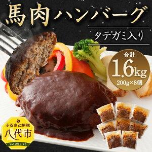 【ふるさと納税】タテガミ入り 馬肉ハンバーグ 8個セット 合計約1.6kg 200g×8個 デミグラスソース ハンバーグ 馬肉 惣菜 おかず 馬肉 タテガミ 真空パック 冷凍 送料無料