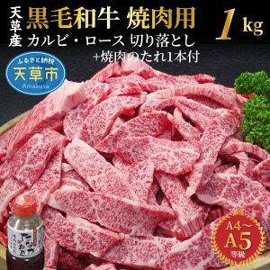 【ふるさと納税】黒毛和牛 焼肉 切り落とし 牛肉 カルビ ロース 1kg 小分け 焼肉のたれ 1本付 A4 A5 田中畜産