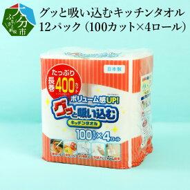 【ふるさと納税】グッと吸い込むキッチンタオル100カット(4ロール×12パック)キッチンペーパー ペーパータオル 大容量 日本製 R14030 【大分県大分市】