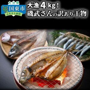 【ふるさと納税】大漁4kg!磯武さんの訳あり干物