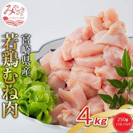 【ふるさと納税】宮崎県産若鶏 むね肉 4kg(250g×16パック)※小分け・カット済・真空冷凍