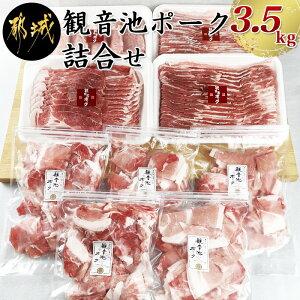【ふるさと納税】観音池ポーク詰合せ3.5kg - 銘柄豚肉セット 豚ロースとんかつ用(500g) 豚バラスライス(500g) 豚肩ローススライス肉(500g×2) ウデ・モモ切落とし(300g×5) 冷凍 宮崎ブランドポーク