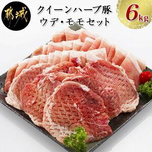 【ふるさと納税】「クイーンハーブ豚」ウデ・モモ6kgセット - ウデまたはモモしゃぶ(300g×16パック) ウデまたはモモとんかつ(300g×4パック) 合計6キロ 都城産ブランドポーク 豚肉/薄切り/野菜